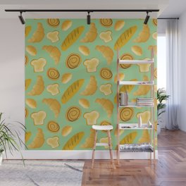 Bread lovers pattern // carb lovers pattern // food pattern Wall Mural
