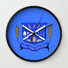 Give Us Beer College Emblem with Latin Script Wall Clock
