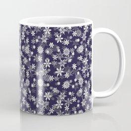 Festive Eclipse Blue and White Christmas Holiday Snowflakes Coffee Mug