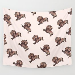 Dog Pattern 2 on Girly Pink Wall Tapestry