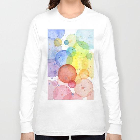 Watercolor Abstract Rainbow Circles and Splatters Long Sleeve T-shirt