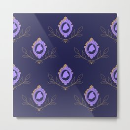 Fancy Cat Silhouette-Purple Metal Print