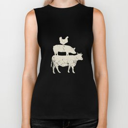 Stacked Farm Animals T-Shirt. Cow Pig Rooster Meat Lover Tee Biker Tank