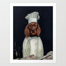 Irish Setter Dog Chef Painting Art Print