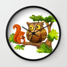 The Owl and The Squirrel Wall Clock