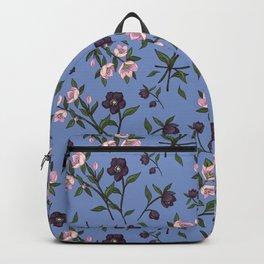 Hellebores on Blue Backpack