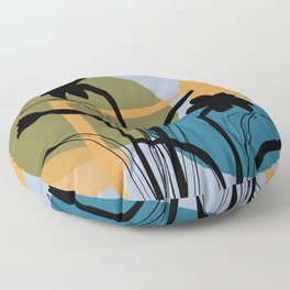 Abstract Daffodils blue rectangles Floor Pillow