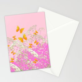 GOLDEN BUTTERFLIES IN PINK LACE GARDEN Stationery Cards