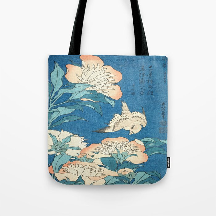 Japanese Flowers Turquoise Peach Tote Bag
