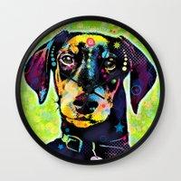 dachshund Wall Clocks featuring Dachshund by Gary Grayson