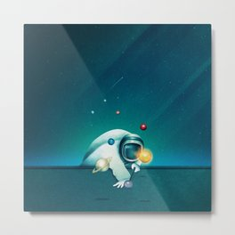 Astronaut Billards Metal Print