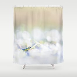 Green frog on its first spring dive - Fine Art Photography Shower Curtain