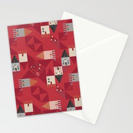 Little houses quilt with red ditsy flowers Stationery Cards