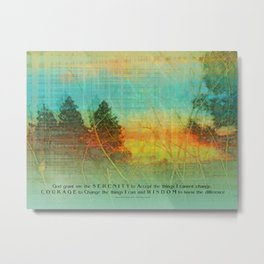 Serenity Prayer Colorful Trees Metal Print