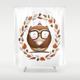 Fall Ready Owl- Illustration Shower Curtain