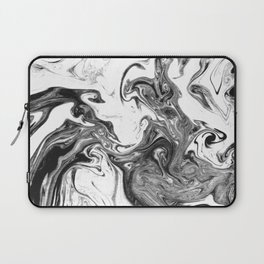 Suminagashi 1 black and white marble spilled ink ocean swirl watercolor painting Laptop Sleeve