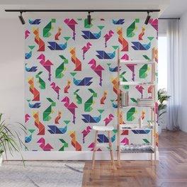 Rainbow Tangram Geomtric Animals Wall Mural