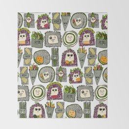 veggie sushi white Throw Blanket