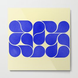 Blue mid-century shapes no8 Metal Print