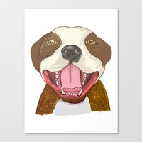 pit bull Canvas Prints featuring Pit Bull Pride by Kat Lyon