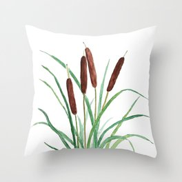 cattails plant Throw Pillow