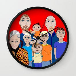 A Family of Boys with Father, Grandpa and Meemaw Wall Clock