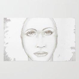 Silver hair pencil portrait Rug