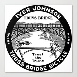Vintage retro Iver Johnson Truss Bridge bicycle ad Canvas Print