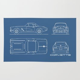 The Corvette C1 Blueprint Rug