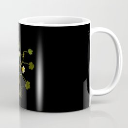 Ranunculus Aquaticus Mary Delany Vintage Floral Collage Botanical Flowers Black Background Coffee Mug