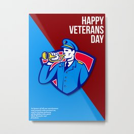 Modern Veterans Day Soldier Bugle Greeting Card Metal Print