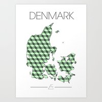 denmark Art Prints featuring DENMARK by Artwork by Eberhardt