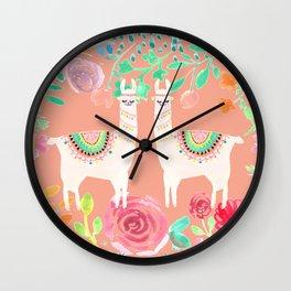 Llama in a floral frame Wall Clock