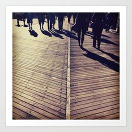 Boardwalk people Art Print
