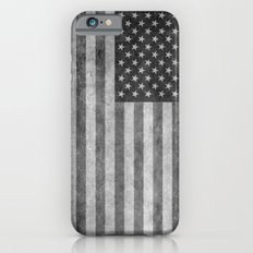 American flag - retro style in grayscale iPhone 6s Slim Case
