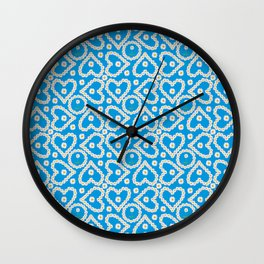 Daisy Chain Hearts and Circles on Turquoise Blue Wall Clock