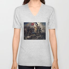 Liberty Leading the People by Eugène Delacroix (1830) Unisex V-Neck
