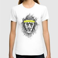 lion T-shirts featuring hipster lion by Balazs Solti