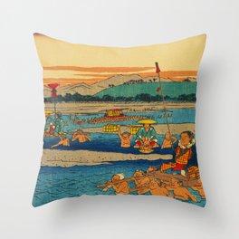 Porters Carry Travelers at Kanaya Japan Throw Pillow