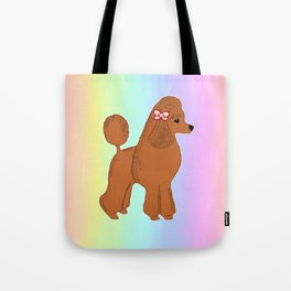 Red Poodle with Pastel Rainbow Tote Bag