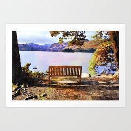 Bench at Derwentwater, Lake District, Cumbria, England. Watercolour painting Art Print