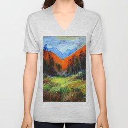 Mountain Meadow Landscape Unisex V-Neck
