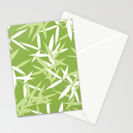 Green Bamboo Leaves Unique Pattern Stationery Cards