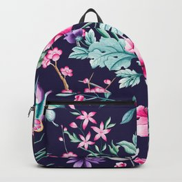 Chinoiserie french navy floral Backpack
