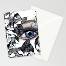 rostros y flores Stationery Cards