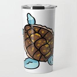 Cute sea turtle top view cartoon illustration motif set. Travel Mug