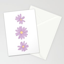 Purple Daisy Flowers Illustration Stationery Cards