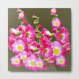 Pink Florals On Puce Color Art Metal Print