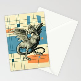 Mythical Cockatrice on Retro Pattern Stationery Cards