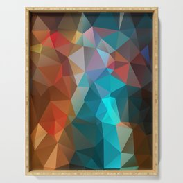 Abstract bright background of triangles polygon print illustration Serving Tray
